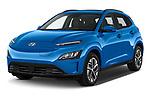 2021 Hyundai Kona-EV Sky 5 Door SUV Angular Front automotive stock photos of front three quarter view