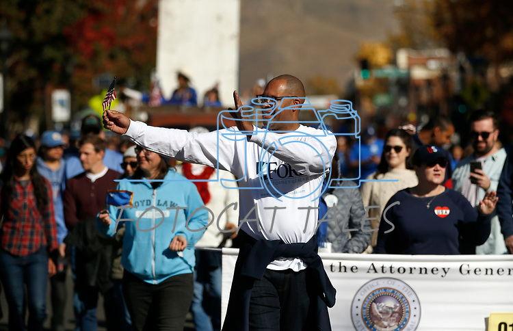 Nevada Attorney General Aaron Ford walks in the Nevada Day parade in Carson City, Nev., on Saturday, Oct. 26, 2019.  <br /> Photo by Cathleen Allison/Nevada Momentum