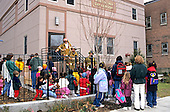 MR / Schenectady, NY.Schenectady Day Nursery: non-profit daycare Toddler Class.Daycare and after school students wait outside with aides & teachers; Firemen check building after alarm activation..© Ellen B. Senisi