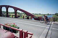 Red Iron Bridge in Avelgem over the River Schelde<br /> <br /> cycling hotspots & impressions in the Vlaamse Ardennen (Flemish Ardennes) <br /> <br /> Cycling In Flanders <br /> Flanders Tourist Board<br /> <br /> ©kramon