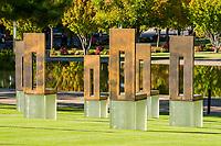 Oklahoma City, Oklahoma, USA.  National Terrorism Memorial, Chairs Honoring Those Killed.