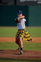 Savannah Bananas pitcher Joshua South (23) during a Coastal Plain League game against the Macon Bacon on July 15, 2020 at Grayson Stadium in Savannah, Georgia.  Savannah wore kilts for their St. Patrick's Day in July promotion.  (Mike Janes/Four Seam Images)