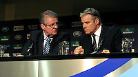 IRB and RWCL Chairman, Bernard Lapasset (left) speaks with IRB CEO and RWCL Managing Director, Brett Gosper during the Rugby World Cup 2015 Venues and Match Schedule Launch at Twickenham Stadium on Thursday 2nd May 2013 (Photo by Rob Munro)
