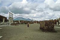 Italy: Pompeii--The Forum. Mount Vesuvius in background. Photo '83.