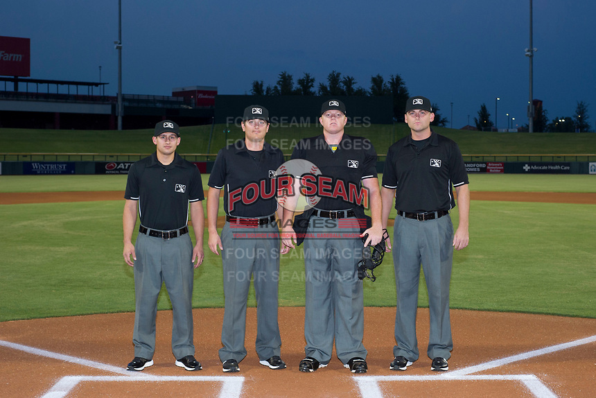 Minor League Baseball Umpires John Perez, Jeff Hamann, Ray Patchen, and Pete Talkington prior to Game Two of the Arizona League Championship Series between the AZL Cubs and AZL Giants on September 6, 2017 at Sloan Park in Mesa, Arizona. AZL Giants defeated the AZL Cubs 6-5 to even up the Arizona League Championship Series at one game a piece. (Zachary Lucy/Four Seam Images)