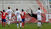 England goalkeeper Jordan Pickford saves the goal attempt during the UEFA U-17 championship Group A match between Serbia and England on May 9, 2011 in Indjija, Serbia (Photo by Srdjan Stevanovic/Starsportphoto.com)