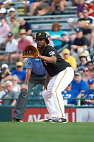 Pittsburgh Pirates first baseman Josh Bell (55) holds a runner on during a Spring Training game against the Toronto Blue Jays  on March 3, 2016 at McKechnie Field in Bradenton, Florida.  Toronto defeated Pittsburgh 10-8.  (Mike Janes/Four Seam Images)
