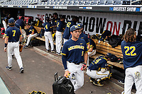 Michigan Wolverines dugout before Game 6 of the NCAA College World Series against the Florida State Seminoles on June 17, 2019 at TD Ameritrade Park in Omaha, Nebraska. Michigan defeated Florida State 2-0. (Andrew Woolley/Four Seam Images)
