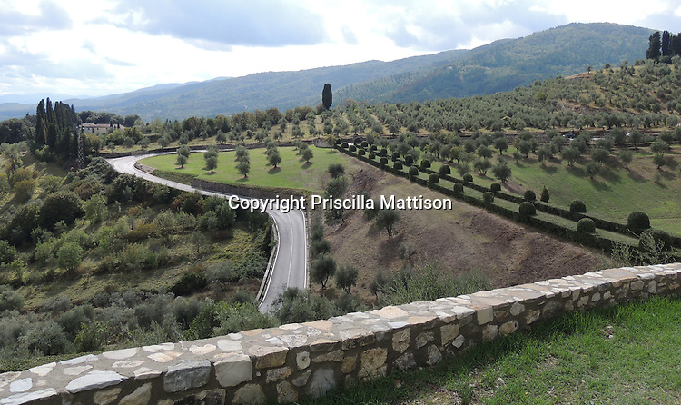 San Donato in Collina, Italy - October 2, 2012:  Lines crisscross in the Tuscan countryside.