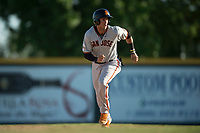 San Jose Giants designated hitter Gio Brusa (26) breaks towards third base during a California League game against the Modesto Nuts at John Thurman Field on May 9, 2018 in Modesto, California. San Jose defeated Modesto 9-5. (Zachary Lucy/Four Seam Images)