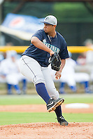 Pulaski Mariners starting pitcher Luiz Gohara (60) in action against the Burlington Royals at Burlington Athletic Park on July 20, 2013 in Burlington, North Carolina.  The Royals defeated the Mariners 6-5.  (Brian Westerholt/Four Seam Images)