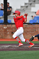 Johnson City Cardinals center fielder Chase Pinder (36) swings at a pitch during a game against the Danville Braves at TVA Credit Union Ballpark on July 23, 2017 in Johnson City, Tennessee. The Cardinals defeated the Braves 8-5. (Tony Farlow/Four Seam Images)