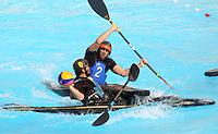 CALI -COLOMBIA-02-08-2013. Aspecto del partido entre Australia y Holanda en la prueba de polo en kayak en el marco de los Juegos Mundiales Cali 2013 realizado en la ciudad de Cali./ Aspect of the match between Australia and Netherlands in canoe polo competition during the World Games Cali 2013  at Cali city  Photo: VizzorImage/Juan C. Quintero/STR