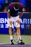 SHANGHAI, CHINA - OCTOBER 16:   Juan Monaco of Argentina reacts after loosing a point to Andy Murray of Great Britain during day six of the 2010 Shanghai Rolex Masters at the Shanghai Qi Zhong Tennis Center on October 16, 2010 in Shanghai, China.  (Photo by Victor Fraile/The Power of Sport Images) *** Local Caption *** Andy Murray