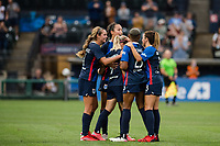 TACOMA, WA - JULY 31: OL Reign celebrate together during a game between Racing Louisville FC and OL Reign at Cheney Stadium on July 31, 2021 in Tacoma, Washington.