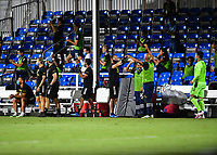 LAKE BUENA VISTA, FL - AUGUST 01: New York City FC bench celebrate a goal during a game between Portland Timbers and New York City FC at ESPN Wide World of Sports on August 01, 2020 in Lake Buena Vista, Florida.