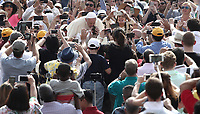 Papa Francesco bacia una bambina al suo arrivo all'udienza generale del mercoledi' in Piazza San Pietro, Citta' del Vaticano, 6 giugno, 2018.<br /> Pope Francis kisses a child as he arrives to lead his weekly general audience in St. Peter's Square at the Vatican, on June 6, 2018.<br /> UPDATE IMAGES PRESS/Isabella Bonotto<br /> <br /> STRICTLY ONLY FOR EDITORIAL USEUPDATE