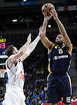 Real Madrid's Rudy Fernandez (l) and Alba Berlin's Reggie Redding during Euroleague match.March 12,2015. (ALTERPHOTOS/Acero)