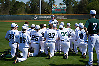 Dartmouth Big Green head coach Bob Whalen (2) addresses his team after a game against the Iowa Hawkeyes on February 27, 2016 at South Charlotte Regional Park in Punta Gorda, Florida.  Iowa defeated Dartmouth 4-1.  (Mike Janes/Four Seam Images)
