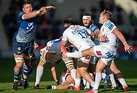 3rd October 2021; AJ Bell stadium, Eccles, Greater Manchester, England: Gallagher Premiership Rugby, Sale v Exeter ;  Stu Townsend of Exeter Chiefs  clears prior to advancing Sale Sharks player  Cobus Wiese
