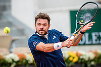 30th September 2020, Roland Garros, Paris, France; French Open tennis, Roland Garr2020; Stan WAWRINKA SUI plays a backhand during his match against Dominik KOEPFER GER in the Suzanne Lenglen court on the second round of the French Open