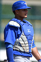 Toronto Blue Jays Andres Sotillo (5) during practice before a minor league spring training game against the Pittsburgh Pirates on March 21, 2015 at Pirate City in Bradenton, Florida.  (Mike Janes/Four Seam Images)