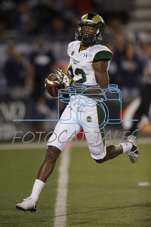 Colorado State's Rashard Higgins (82) walks into the end zone after a reception against Nevada during the first half of an NCAA college football game in Reno, Nev., on Saturday, Oct. 11, 2014. (AP Photo/Cathleen Allison)