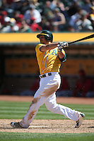 OAKLAND, CA - APRIL 13:  Danny Valencia #26 of the Oakland Athletics bats against the Los Angeles Angels of Anaheim during the game at the Oakland Coliseum on Wednesday, April 13, 2016 in Oakland, California. Photo by Brad Mangin