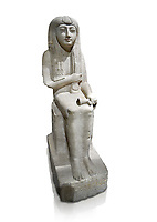 "Ancient Egyptian statue of Hel, limestone, New Kingdom, late 18th Dynasty, (1320-1280 BC), Saqqara. Egyptian Museum, Turin. white background.<br /> <br /> The women is seated on a cushioned stool. On her head is a lotus flower. In her left hand she holds a cloth in her right a counterweight for a meant necklace, a ritual instrument used in the cult of the goddess Hathor. the statue probably stood in a tomb in Saqqara necropolis of Memphis, where the Egyptian eletes of the time had splendid tombs with statues of s similar style. The inscription evokes the deceased ""everything that comes forth in the presence of the gods of Memphis for Osiris, the lady of Hel..."""