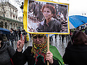 France 2013 .Demonstration of the Kurds in Paris after the killings of three Kurdish female activists, including a founding member of PKK: A Kurdish woman with the portrait of one of the victims.<br />