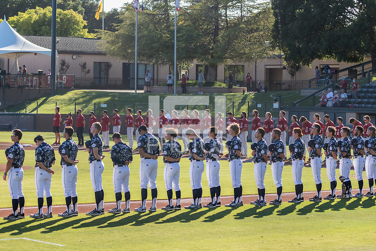 STANFORD, CA - JUNE 6: National Anthem before a game between UC Irvine and Stanford Baseball at Sunken Diamond on June 6, 2021 in Stanford, California.