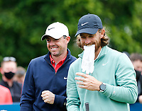 2nd July 2021; Mount Juliet Golf Club, Kilkenny, Ireland; Dubai Duty Free Irish Open Golf, Day Two; Rory Mcilroy of Northern Ireland and Tommy Fleetwood of England share a joke on the 10th tee