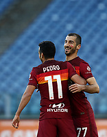Football, Serie A: AS Roma - Parma, Olympic stadium, Rome, November 22, 2020. <br /> Roma's Henrikh Mkhitaryanl (r) celebrates after scoring his first goal in the match with his teammate Pedro (l) during the Italian Serie A football match between Roma and Parma at Rome's Olympic stadium, on November 22, 2020. <br /> UPDATE IMAGES PRESS/Isabella Bonotto