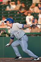 Left fielder Marcus Knecht #19 of the Dunedin Blue Jays during the game against the Daytona Cubs at Jackie Robinson Ballpark on April 9, 2012 in Daytona Beach, Florida. (Scott Jontes / Four Seam Images)