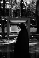Teheran, Iran, April 22, 2007.An ATM machine near Tajrish square on Valyasr avenue..
