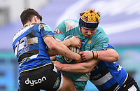 20th March 2021; Recreation Ground, Bath, Somerset, England; English Premiership Rugby, Bath versus Worcester Warriors; Orlando Bailey of Bath tackles Justin Clegg of Worcester Warriors