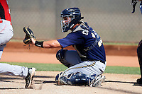 Milwaukee Brewers minor league catcher Clint Coulter #15 during an instructional league game against the Cincinnati Reds at Maryvale Baseball Park on October 3, 2012 in Phoenix, Arizona.  (Mike Janes/Four Seam Images)
