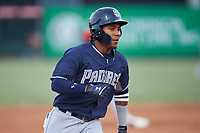 Yordi Francisco (5), of the AZL Padres 1, rounds third base during an Arizona League game against the AZL Angels on August 5, 2019 at Tempe Diablo Stadium in Tempe, Arizona. AZL Padres 1 defeated the AZL Angels 5-0. (Zachary Lucy/Four Seam Images)