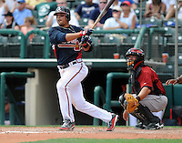 15 March 2009: Infielder Martin Prado (14) of the Atlanta Braves hits in a game against the Houston Astros at the Braves' Spring Training camp at Disney's Wide World of Sports in Lake Buena Vista, Fla. Photo by:  Tom Priddy/Four Seam Images