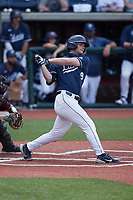 Aaron Anderson (9) of the Liberty Flames follows through on his swing against the Bellarmine Knights at Liberty Baseball Stadium on March 9, 2021 in Lynchburg, VA. (Brian Westerholt/Four Seam Images)