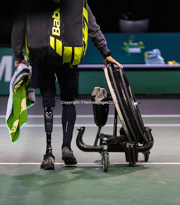 Rotterdam, The Netherlands, 4 march  2021, ABNAMRO World Tennis Tournament, Ahoy, First round wheelchair: Martin de la Puente (ESP).<br /> Photo: www.tennisimages.com/