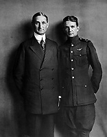 Secretary of the Treasury William G. McAdoo and his son William, Jr., who is in the aviation branch of the Navy.  September 1918.  Underwood & Underwood. (War Dept.)<br /> Exact Date Shot Unknown<br /> NARA FILE #:  165-WW-442B-2<br /> WAR & CONFLICT BOOK #:  501