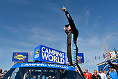 NASCAR Camping World Truck Series<br /> UNOH 175 <br /> New Hampshire Motor Speedway<br /> Loudon, NH USA<br /> Saturday 23 September 2017<br /> Christopher Bell, SiriusXM Toyota Tundra celebrates his win<br /> World Copyright: Nigel Kinrade<br /> LAT Images