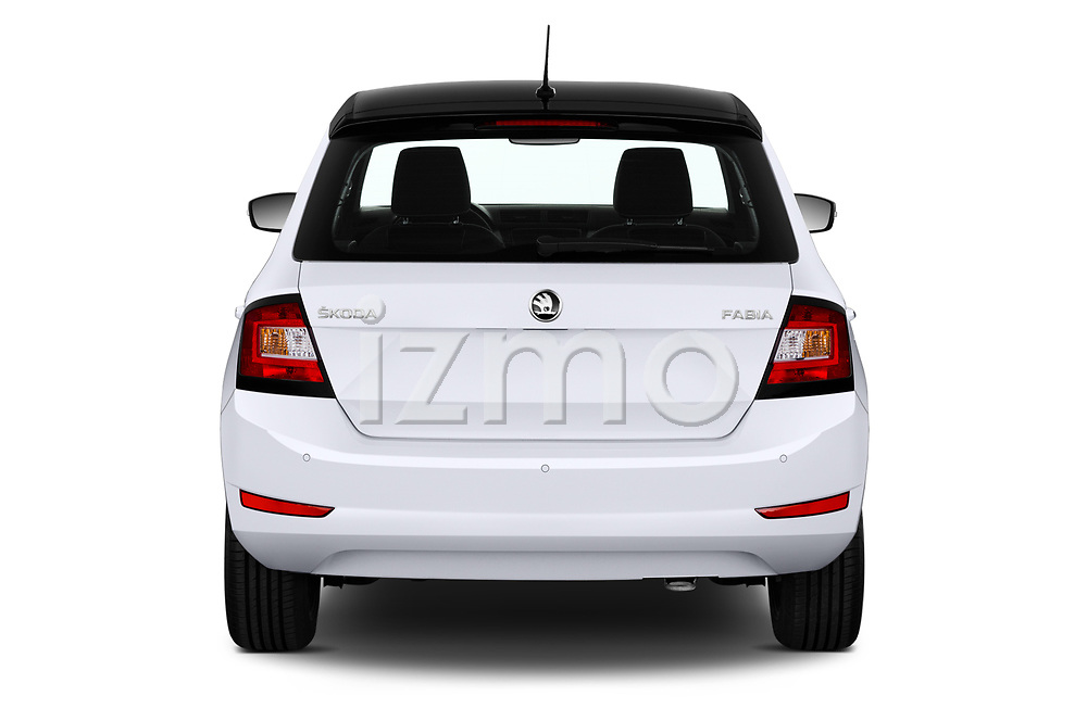 Straight rear view of 2018 Skoda Fabia Ambition 5 Door Hatchback Rear View  stock images