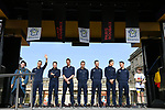 Quick-Step Floors team on stage at the team presentation before the 116th edition of Paris-Roubaix 2018. 7th April 2018.<br /> Picture: ASO/Pauline Ballet | Cyclefile<br /> <br /> <br /> All photos usage must carry mandatory copyright credit (© Cyclefile | ASO/Pauline Ballet)