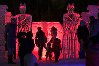 Moscow, Russia, 14/01/2012..Visitors to Moroz City, or Frost City, an ice town constructed in Moscow's Sokolniki Park by a team of architects and ice sculptors. As well as ice sculptures the temporary town features a disco, hotel, fitness centre, post office and prison.