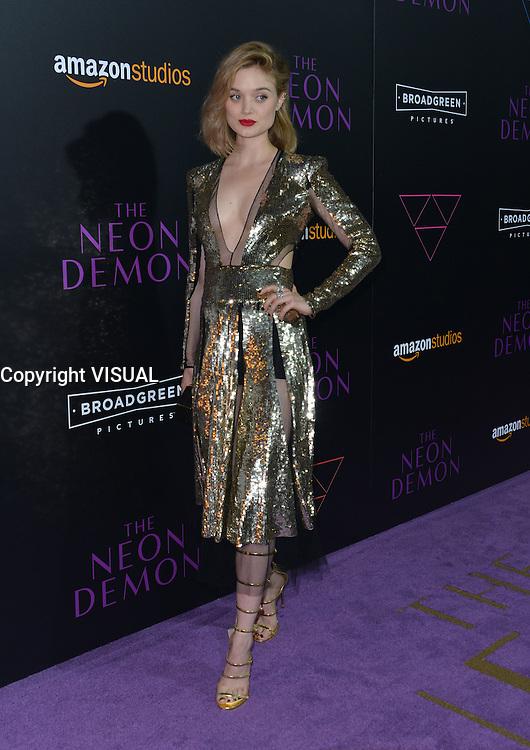 Bella Heathcote @ the premiere of 'The Neon Demon' held @ the Arclight theatre.<br /> June 14, 2016.