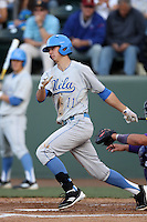 Trevor Brown #11 of the UCLA Bruins bats against the TCU Horned Frogs at the Los Angeles super regionals at Jackie Robinson Stadium on June 9, 2012 in Los Angeles,California. UCLA defeated TCU 4-1.(Larry Goren/Four Seam Images)