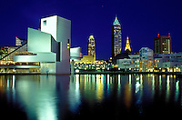downtown skyline, Cleveland, OH, Ohio, Rock and Roll Hall of Fame and Museum, North Coast Harbor, evening.