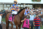 August 2, 2015. Dontbetwithbruno, ridden by Gabriel Saez and trained by Todd Pletcher, heads to the post parade for the  Grade I William Hill Haskell Invitational Stakes, one and 1/8 miles on the dirt  for three year olds at Monmouth Park in Oceanport, NJ. . Joan Fairman Kanes/ESW/CSM
